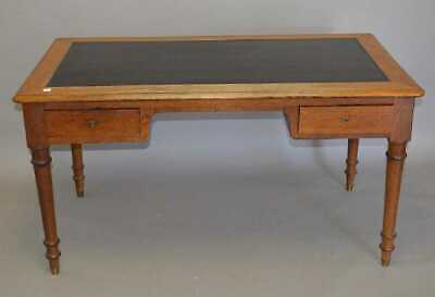 Antique Oak French Writing Desk with leather insert surface
