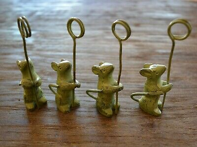 Light Green Cast Iron Mouse set of 4 Place Card Holders Cheese Markers