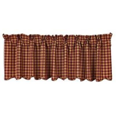 Burgundy Check Scalloped Valance, 16x72