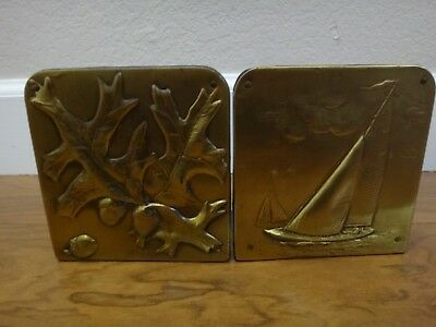 "Vintage Hammered Brass Bookends 5"" x 5"" - Set of 2"