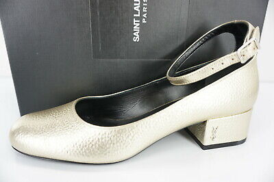 1a1b52e00e6 Saint Laurent Gold Leather Babies Ankle Strap Pumps Size 36.5 New YSL Yves  $895