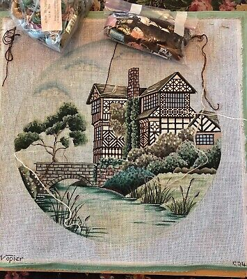 Hand Painted Needlepoint Canvas Napier European Manor  House Bridge W/ Threads