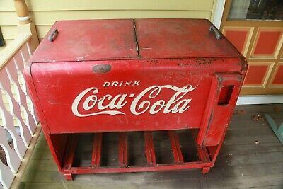 Original 1930s Coca Cola Cooler Ice Chest w Bottle Rack, Opener, Cap Recepticle