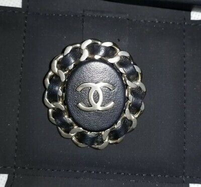 New Only 1 NIB CHANEL CC Logo Matte Gold Black Leather Chain Badge Pin Brooch