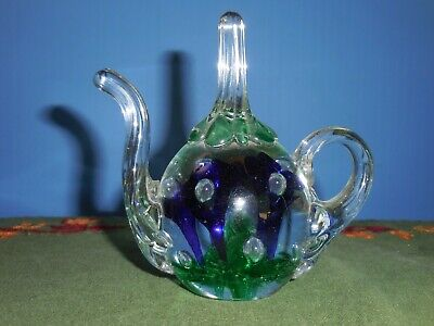 North American Joe St.clair Blown Glass Multi-colored Flowers With Floating Bubbles Paperweight