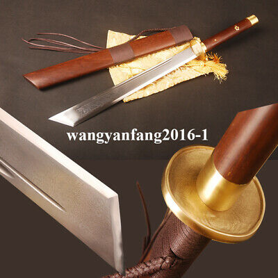 "Folded steel Chinese sword ""斩马刀"" saber brass ornamented Rose Hualee wood saya"