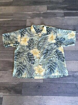 d91df6eb Tommy Bahama Mens Hawaiian Silk Button Up Shirt Large XXL Floral Vacation