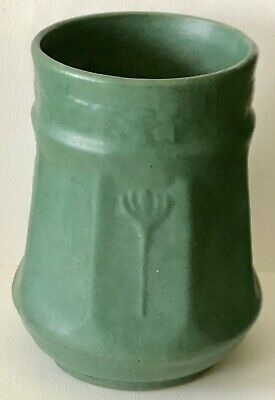 Antique c1910 Zanesville #11 Mission Arts & Crafts Large Green Art Pottery Vase