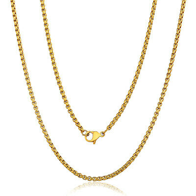 Thin 2mm Box Link Gold Plated Stainless Steel Chain Necklace Men Women Unisex