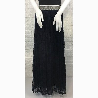 24ef8224a Lucy Paris Womens Navy Blue Lace Maxi Skirt Size Small Long Nasty Gal NWT  $88