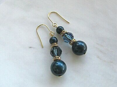 Gold Drop Earrings made with Swarovski Crystals, Pearls & Rondelles (Dark Blue)