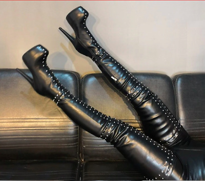 16cm Heel Platform, All Sizes Crotch Thigh High Platform PVC Boots