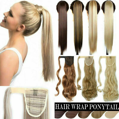 Curly Straight Claw Jaw Ponytail Thick Clip In Hair Extensions Wavy Hairpiece