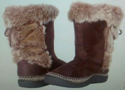 097d5e520 NWT Isotoner Woodlands Women's Microsuede Faux Fur Lace Up Boots 7.5-8  MSRP$45