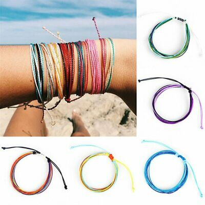 Multi Color Handmade Thread Woven Friendship Cords Hippie Anklet Bracelets
