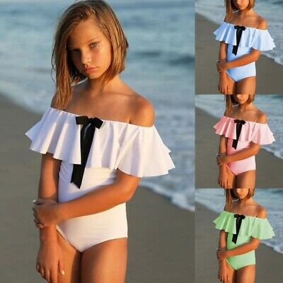 b0cbc1195c Kids Girls Cute Bathing Suits Short Sleeve Off the Shoulder Rompers Sun  Swimwear