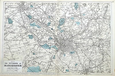 Environs of MANCHESTER, 1883 -  Original Large Antique City Map / Plan -  BACON.