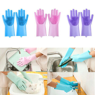 1Pair Silicone Rubber Dish Washing Gloves Magic Scrubber Cleaning Brush Kitchen