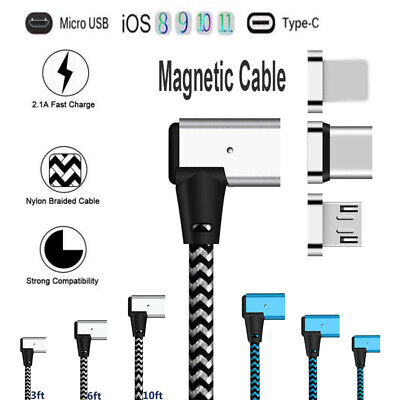1~3M 3in1 90° Elbow Magnetic Micro USB Type C iOS Charger Cable For iPhone Lot