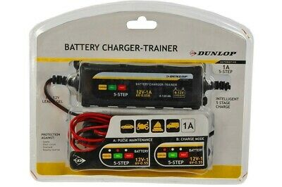DUNLOP SMART BATTERY CHARGER - TRAINER 1A Lead & Gel 6v 12v Car Motorbike Boat