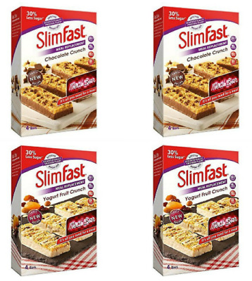 Slimfast Meal Replacement Variety Bars 8 Yoghurt Fruit Crunch 8 Chocolate Crunch