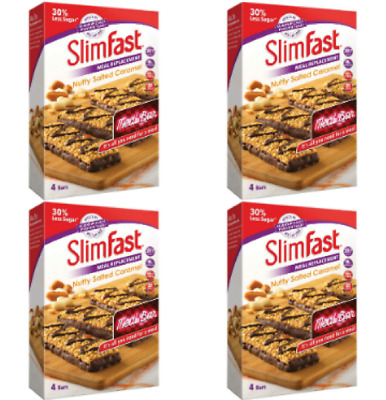 4 Slimfast Meal Replacement Bar Nutty Salted Caramel 16 X 56g Crispies Caramel