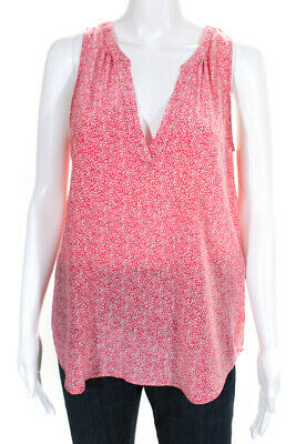 2779966345c017 Joie Womens V-Neck Sleeveless Blouse Shirt Top Pink White Silk Size Medium