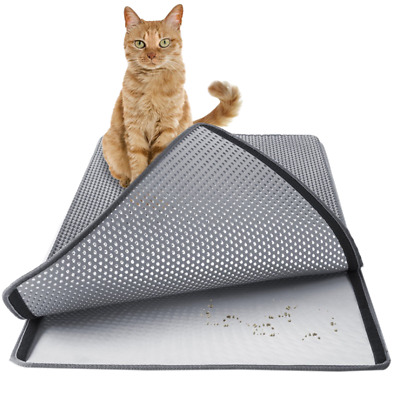 Cat Litter Tray Mat Double Layer Trap House Box Toilet Pad Urine Proof JA