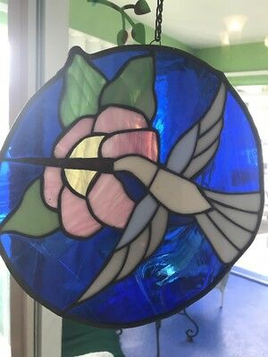 """Hummingbird Stained Glass Panel Window Hanging Art Large 12"""" Round Leaded VTG"""