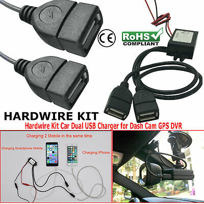 Car Truck Dash Camera Hard Wire Kit Battery Charger 5V Dual USB Female 3A Phone