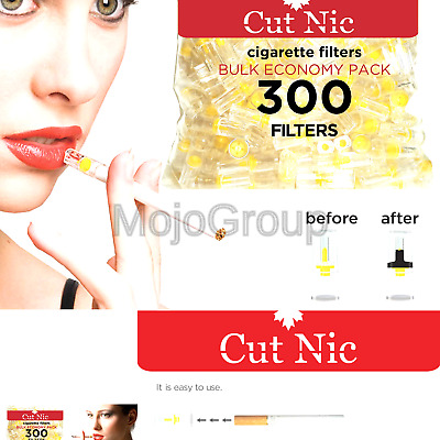Cut-Nic 4 HOLE Disposable Cigarette Filters - Bulk Economy Pack (300 Per Pack...
