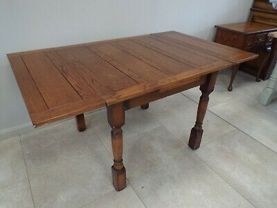 Pretty Antique Oak Draw Leaf Extending Dining Table RESTORED