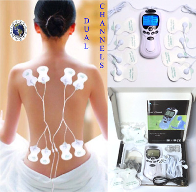 TENS Massager Therapy Digital  Machine Pain Relief with 8 Pads and DUAL CHANNELS