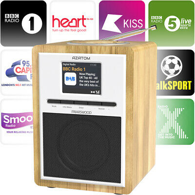 Azatom DAB Radio Bluetooth FM Digital Alarm Clock speaker -  Friarswood Oak