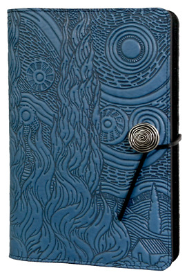 """Van Gogh Sky Starry Night Large 6""""x9"""" Sky Blue Leather Journal by Oberon Design"""