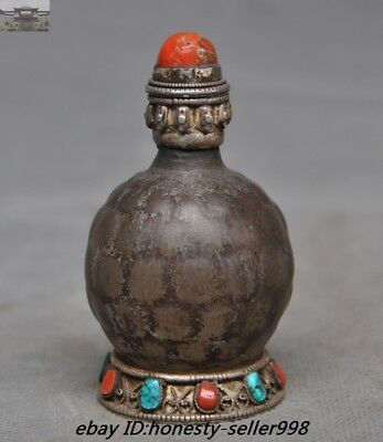 Antiques Old Tibet crystal inlay Tibetan Silver Turquoise Red coral Snuff Bottle