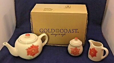 Gold Coast Floral Bone China Ceramic Tea Set 3 PC New in the Box 507A NIB