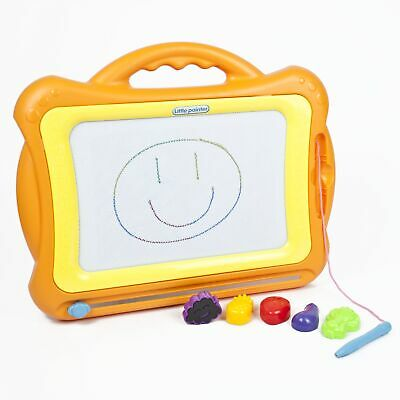 New Magnetic Doodle Board - Orange Childrens Sketch Drawing Pad Kids Fun Toy Kid