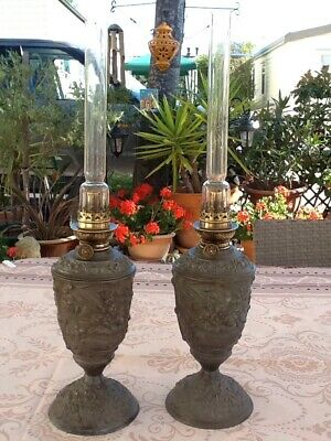 Pair Of antique French Pewter Oil Lamps.