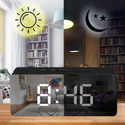 Alarm Clock Large Digital LED Display Portable Modern Battery Operated Mirror QE