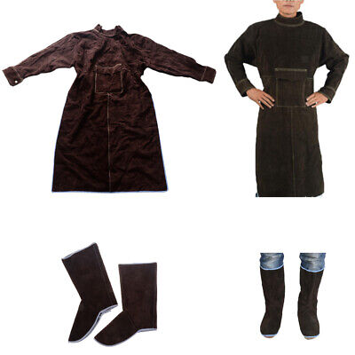 Leather Welding Apron Work Apron XXL Comes with 1Pair Protective Shoes Brown