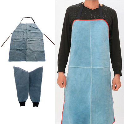Leather Welding Apron + 1Pair Protective Split Sleeves for Workplace/ Blue