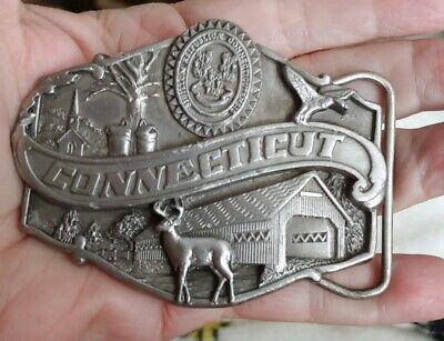 Vintage Siskiyou BUCKLE CO cast Pewter Belt Buckle CONNECTICUT 1986 C