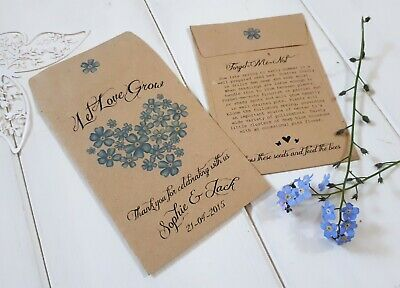 Personalised Forget-Me-Not Seeds - Wedding Favours -Seed Packets- Gifts/Favours