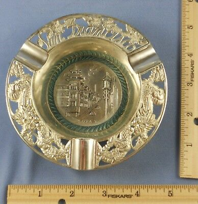 SAN FRANCISCO China Town Souvenir Metal Ashtray Poppies Dragons & Pagoda