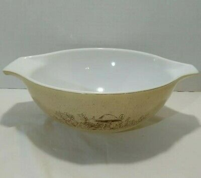 Vintage Pyrex Forest Fancies 4 Qt Cinderella Nesting Bowl 444 Mushroom Tan Brown