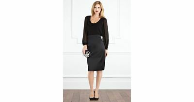 a866ce5cb4a071 Coast Matinee Duchess Black Satin Pencil Skirt UK Size 10 Office to Party  £75