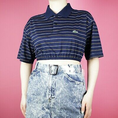 debde23fc1d VINTAGE Lacoste Navy Blue Stripe Pattern Rework Crop 90s Polo Shirt Top M  12 14
