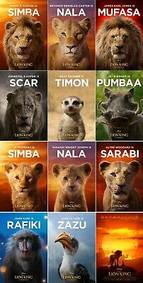 """The Lion King Poster 2019 Movie Live Action Character Art Print 24x36"""" 27x40"""""""