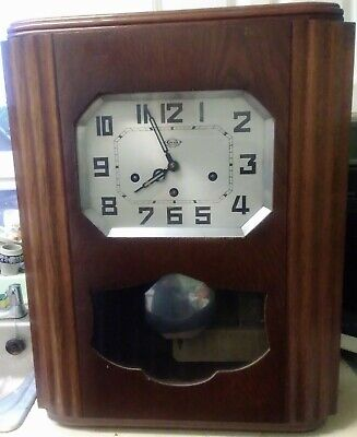 Early Twentieth Century Girodi French Oak Westminster Chimes Wall Clock